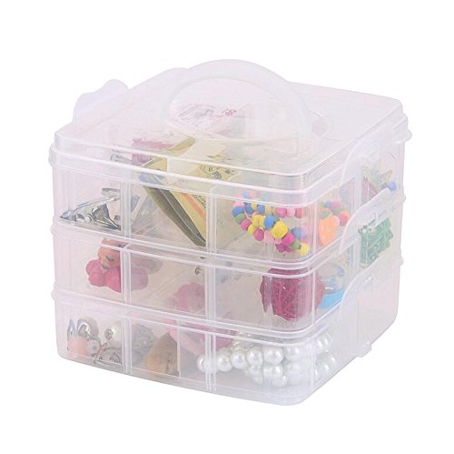 DJUNXYAN 3-Tier 18 Sections Transparent Stackable Adjustable Compartment Slot Plastic Craft Storage Box Organizer for Toy Desktop Jewelry Accessory Drawer Or Kitchen 4 Colors 3 Sizes (Medium White)