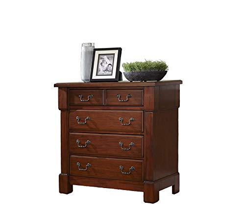 Wood & Style Furniture Aspen Rustic Cherry Drawer Chest by Premium Office Home Durable Strong