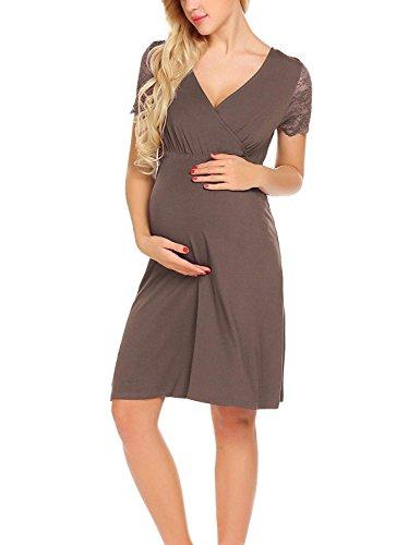 Marca Bolawoo 77 Vestito Corta Trendy Manica Abito Pizzo Estivi Kaffee Donna In Di A Mode Abiti Camicia Maternità Elegante Gravidanza Scollo V Da Nw0PkOX8n