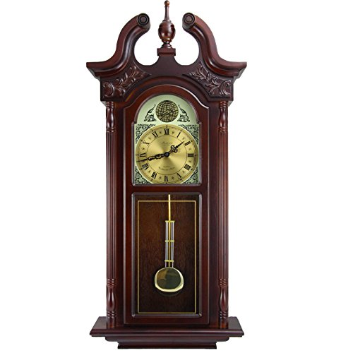 Bedford Clock Collection 38 Grand Antique Colonial Chiming Wall Clock with Roman Numerals in a Cherry Oak Finish