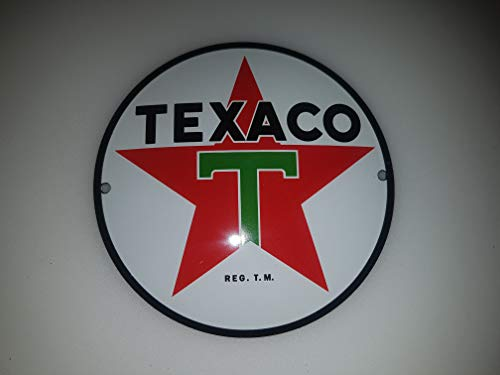 Porcelain Enamel Sign - Classic TEXACO Porcelain Enamel Door Sign EMAILLE! 4 INCH = 12cm! Weight 0.22lb!! Replica!