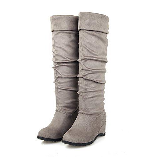 AllhqFashion Damen Hoch-Spitze Eingelegt Ziehen auf Mittler Absatz Stiefel mit Metallisch Grau