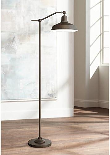 Kayne Modern Contemporary Farmhouse Downbridge Style Task Floor Lamp Satin Bronze Metal Shade Step Switch Bright Lighting
