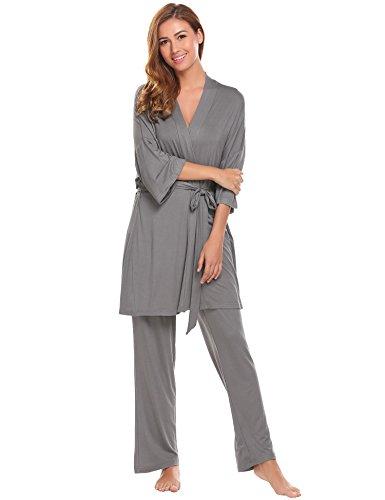 eshion Womens Maternity Nursing Pajama Set Long Sleeve Cotton Sleepwear 3 Pieces Robe Tops Pants