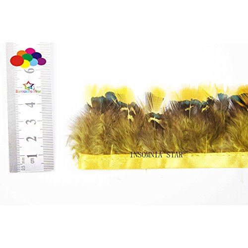 Insomnia Star 10 Meter Beautiful Natural Light yrllow Pheasant Feather Trim DIY Wedding by INSOMNIA STAR (Image #3)