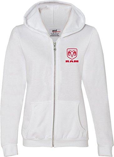 Red Dodge Ram Logo Pocket Print Ladies Full Zip Hoodie, White, (Ladie Full Zip Hoody)