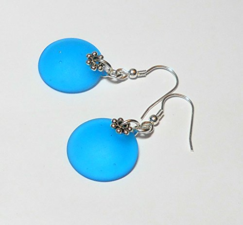 Pacific Blue Manufactured Sea Glass Earrings with Sterling Silver Hooks by BethExpressions (Sea Earrings Pacific)