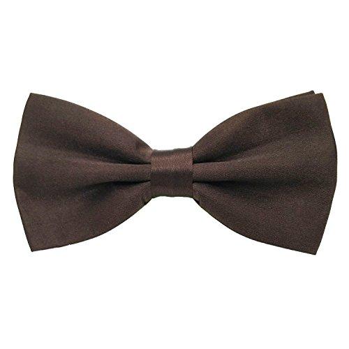 - Mens Adjustable Neck Solid Bow Ties Pre Tied (Coffee)