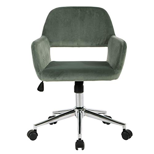 FurnitureR Mid-Back Swivel Computer Desk Chair Ergonomic Modern Accent Office Task Chair Executive Chairs with Velvet Seat Armrest,Cactus