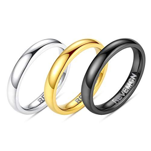 REVEMCN 2mm 3mm 4mm 5mm 6mm Stainless Steel Polished Finish Wedding Band Ring for Men Women 3 Color a Set (3mm, 8) ()