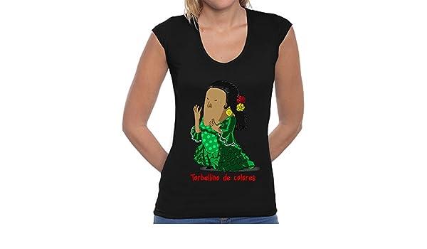 latostadora Camiseta Lola Flores by CalvichiS - Camiseta Mujer, Cuello en V Negro Talla M: hola: Amazon.es: Ropa y accesorios