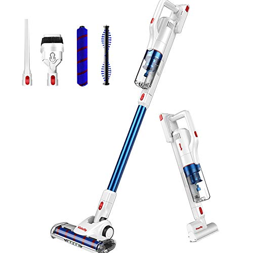 Vistefly V10 Pro Cordless Vacuum Cleaner, 22KPa Stick Cleaner Powerful Suction with Detachable Battery, Bagless Rechargeable 2 in 1 Handheld Car Vacuum with Mini Motorized Brush, Blue