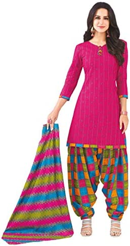 Miraan Women Cotton Unstitched Dress Material (SAN1427, Pink, Free Size)