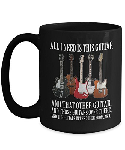GUITAR IS ALL I NEED - Lively Acoustic guitar mug - Bass- Hero- Chord- Gibson- Martin-Elvis presley- Themed- Amp-Jackson- Taylor-Creative Player-Guild ()