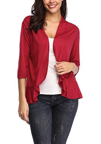 ZHENWEI Women's 3/4 Sleeve Open Front Fall Draped Cardigan Sweaters with Ruffle Lightweight Shrug Cardigans Asymmetrical Cardigan Wrap Plus Size(Wine Red, XL)