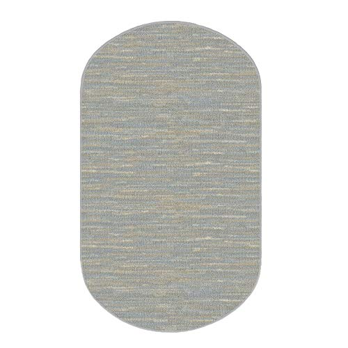 Oval 4'X6' - Powder Blue, Slimline Linear Pattern - Active Household Carpet Collection | Custom Area Rugs & Runners. 74 Sizes & Shapes You Won't Find Anywhere Else!