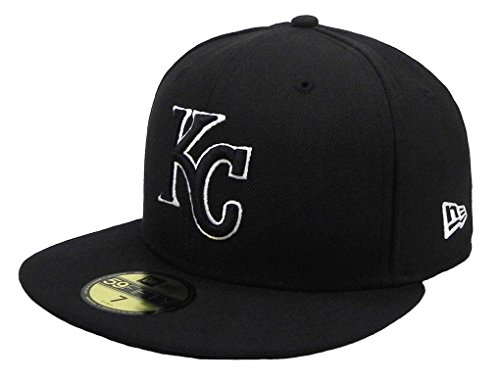 New Era 59Fifty Hat MLB Kansas City Royals Black/White Fitted Cap (7 3/8) Black Royal Fitted Hats