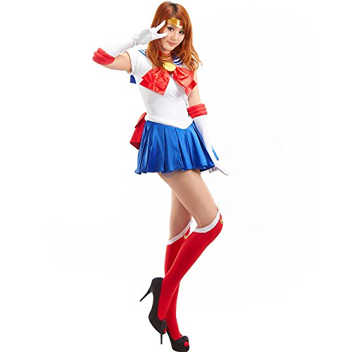 OURCOSPLAY Women's Sailor Moon Tsukino Usagi Adult Cosplay Costume 7 Pcs Set (Women M) ()
