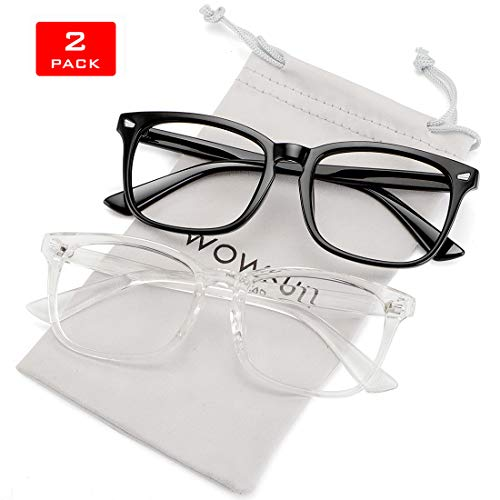 WOWSUN Unisex Stylish Nerd Non-prescription Glasses,Clear Lens Eyeglasses Optical Frames,Fake Glasses (2 PACK Black + Clear Frame Clear Lens, ()