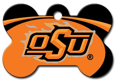 Personalized Laser Engraved 1.5 x 1 inch Oklahoma State Cowboys Bone Shape Pet ID Tag- Free Tag Silencer by dogIDS
