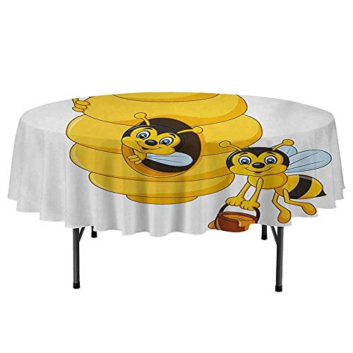 DouglasHill Nursery Leakproof Polyester Round Tablecloth Branch of Tree with Beehive and Bees Honey Funny Insect Hardworking Mascot Outdoor and Indoor use D40 Inch Yellow Brown Green ()