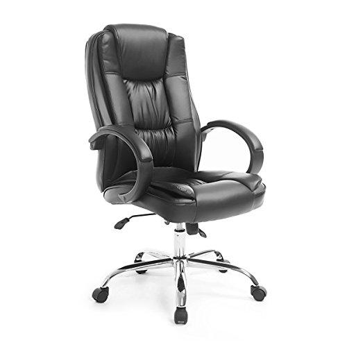 Neader Office Chair Furniture Executive Ergonomic PU Leather High Back Padded Armrests Swivel,Black ()