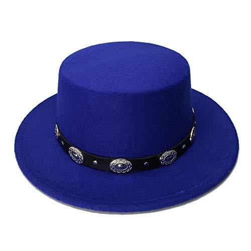 Braid Pork - ZLQ Retro Kid Vintage 100% Wool Wide Brim Cap Pork Pie Porkpie Bowler Hat Braid Leather Band(54cm/Adjusted) Cowboy Hat (Color : Blue, Size : 54cm)