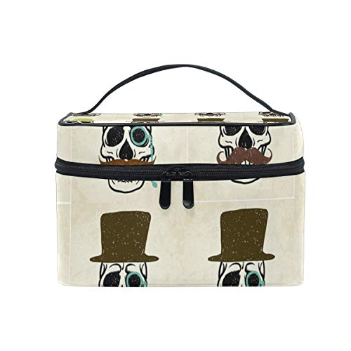 Makeup Cosmetic Bag Beard Gentleman Skull Pattern Portable Storage with Zipper