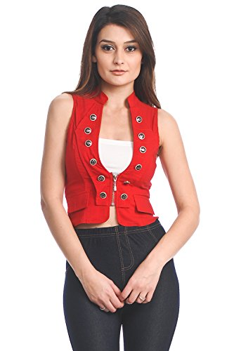 Military Double Buttoned Sleeveless Spandex