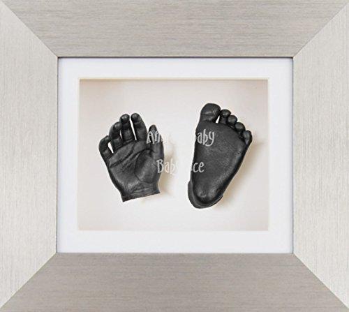 BabyRice 3D Baby Boy Casting Kit Brushed Silver Effect Frame Pewter Foot Casts
