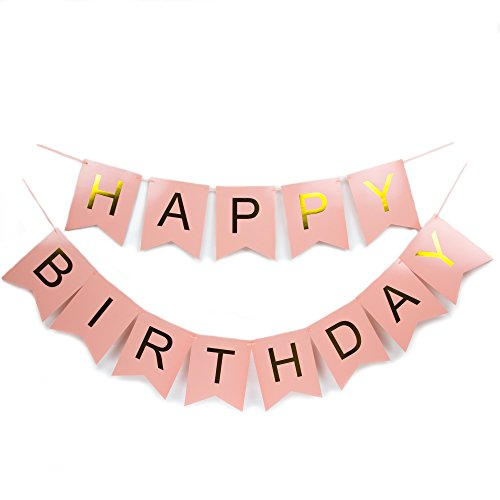 Happy Birthday Bunting Banner Pastel Pink and Gold High Quality Foiled Letters Party Girl Child Adult Decorations Celebration Supplies Assembled 1st 16th 18th 21st 30th 40th 50th 60th 70th 80th 90th (Diy Halloween Themed Birthday Party Invitations)