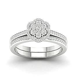 IGI Certified Sterling Silver 1/4ct TDW Diamond Halo Bridal Set
