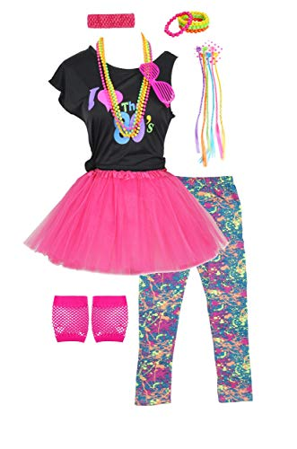 Fashion by Janestone Girls 80s T-Shirt Costume Outfit Accessories Headwear Skirt Leggings Gloves (10/12, Hot Pink) ()