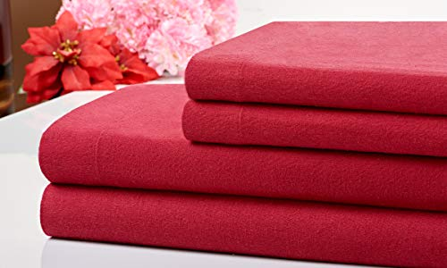 Bibb Home 100% Cotton 4 Piece Printed Flannel Sheets Set – Deep Pocket, Warm, Super Soft, Breathable Bedding (Burgundy, Full)