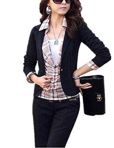 Outwear OL Coupe Gilet Chic Casual Manteau Femme Veste Noir Blouson Printemps Style Petit YOSICIL Courte Costume Automne Cintre qpf87wx