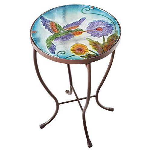 Benzara Deco 79 Console Hummingbird Round Glass Metal Indoor Outdoor Garden Patio Accent Table, Mosaic (Hummingbird Mosaic)