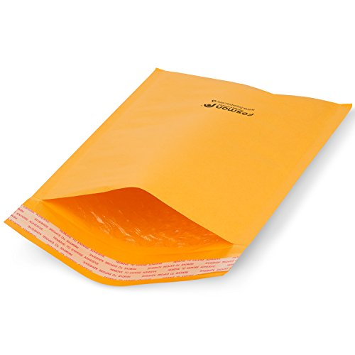 Fosmon #0 Kraft Bubble Mailer 6.5 x 10, Extra Wide Padded Shipping Envelopes, (100 - Lable Ups