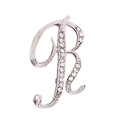 Usstore  English Letters Diamond Brooch Pin Crystal Couple Memorial Jewelry Love Gifts Birthday Present Clothes Decor (R, one Size) ()