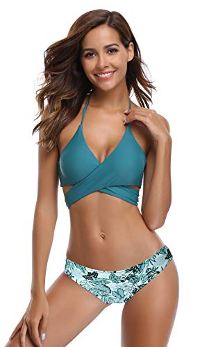 SHEKINI Womens Bathing Suits Floral Printing Swim Bottoms Padded Halter Bandage Bikini Two Piece Swimsuits (Valley Green - C, ()