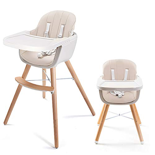 Asunflower Wood High Chair Toddlers 3 in 1 Convertible Modern Baby Highchair Solution for Babies and Infants with Cushion ()