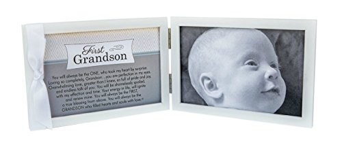 First Grandchild Picture Frame- White Double Hinged Tabletop Photo Frame Holds 4