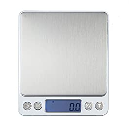 UNIWEIGH Digital Food Scale,3kg 0.1g/0.01oz Gram Scale Weight Grams and OZ,Coffee Scale with 2 Trays for Baking Cooking…