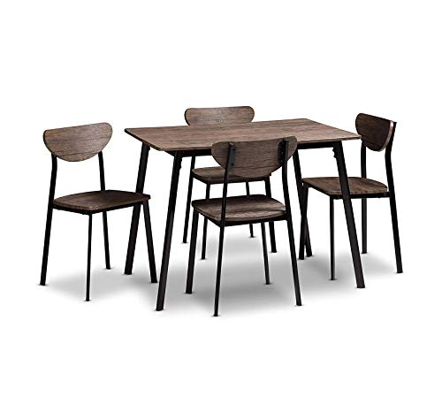 Wood & Style Furniture Vallauris Dining Set, Light Brown Home Office Commerial Heavy Duty Strong Décor ()