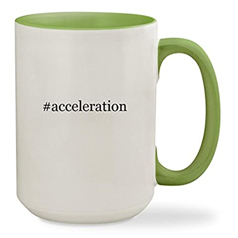 #acceleration - 15oz Hashtag Colored Inside & Handle Sturdy Ceramic Coffee Cup Mug, Light Green (Christian Light Education Math 2)