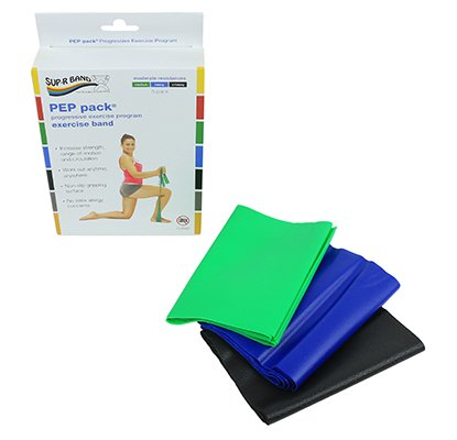 (Sup-R Band Latex Free Exercise Band - Pep Pack, 3-Piece Set - 1 Each: Green, Blue, Black - 10-6382)