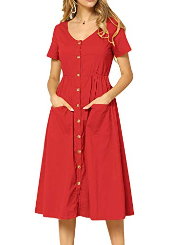 (Women Pleated Short Sleeve Loose Fit Modest Work Tunic Midi Dress Red 12)