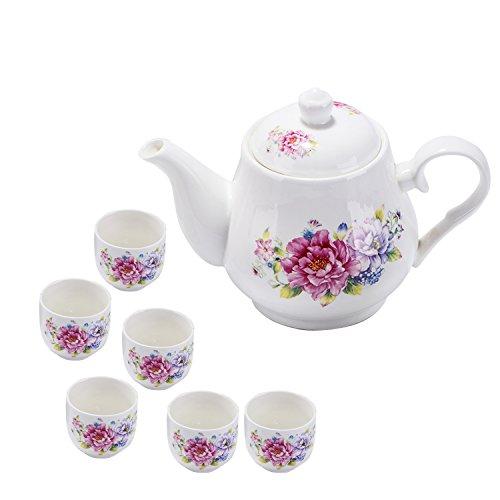 13.7 oz Vintage Ceramic Teapots, Floral Porcelain Kettle Set with 6 Cups (White)