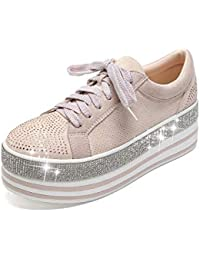 409-1 Women's Faux Leather Platform Lace Up Sneaker with...
