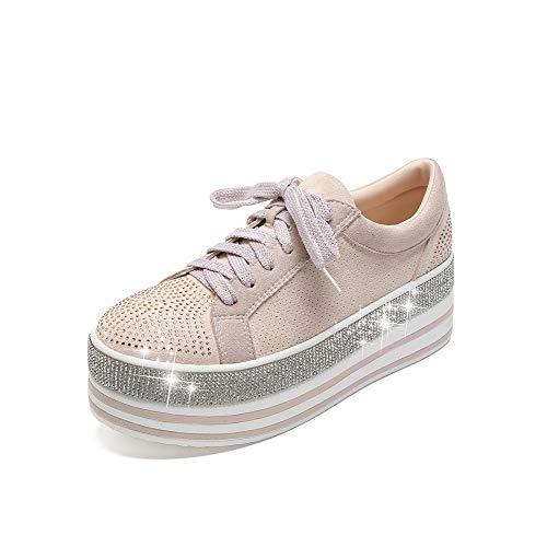 Mackin J 409-1 Women's Faux Leather Platform Lace Up Sneaker with Faux Diamonds (7, Nude)