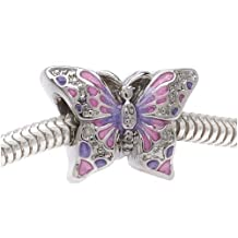 BeadaholiqueCA BMB-8146 2-Sided Pink and Purple Butterfly Large Hole Bead, Fits Pandora, Silver Tone